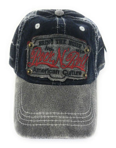 KB Adjustable Bring The Noise Rock N Roll American Culture Hat Cap Blue Brown Black