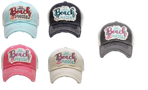 Beach Please Star Fish Palm Tree Vent Trucker Mesh Hat Cap Black Pink Red Blue Beige Khaki Tan White