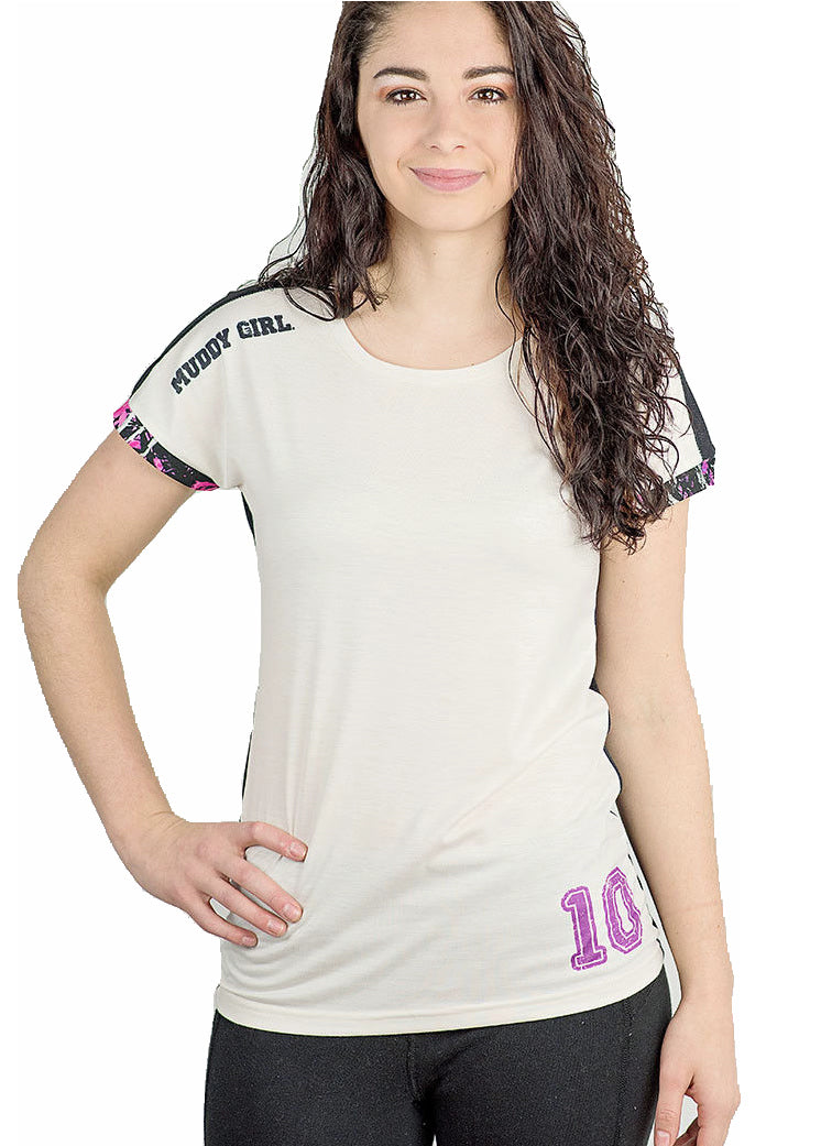 Muddy Girl Camo Jersey Mesh Vented Back Short Sleeve Shirt White Black Purple Pink