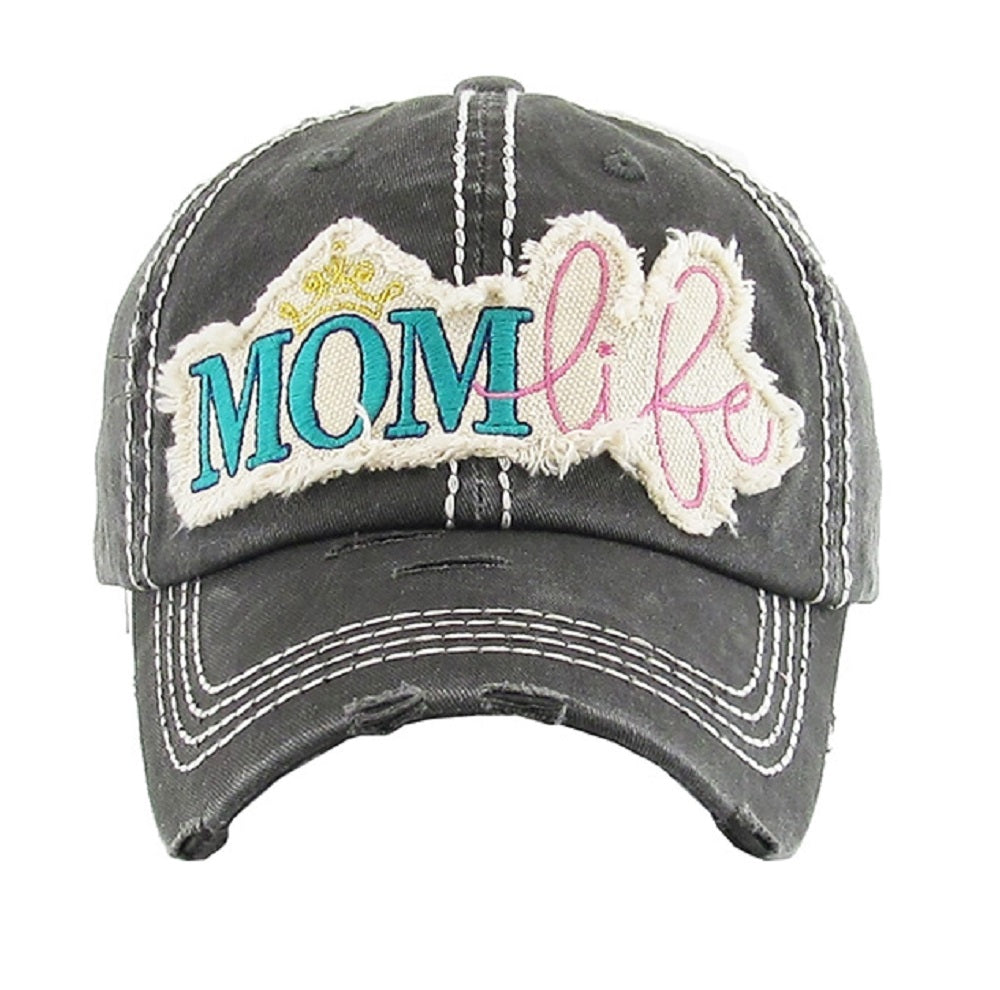 KB Adjustable Mom Life Crown Vintage Women Ladies Hat Cap Black Pink Turquoise Blue