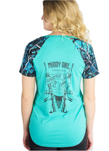 Muddy Girl Serenity Camo Respect Gun Lifestyle Short Sleeve Shirt Turquoise Blue Black