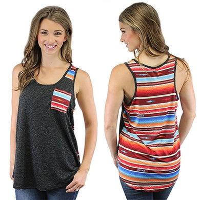 Sunshine&Rodeos Serape Aztec Front Pocket Tank Top Sleeveless Shirt Black Gray Orange Red Blue
