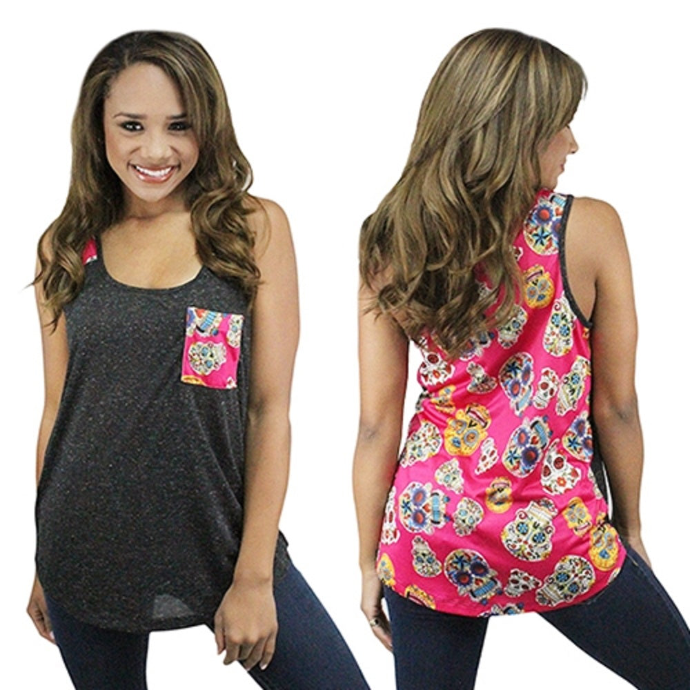 Sunshine&Rodeos Flower Cross Sugar Skull Tank Top Sleeveless Shirt Black Pink