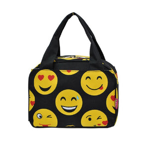 NGil Emoji Emoticon Smiley Face School Insulated Lunch Box Bag Black Yellow