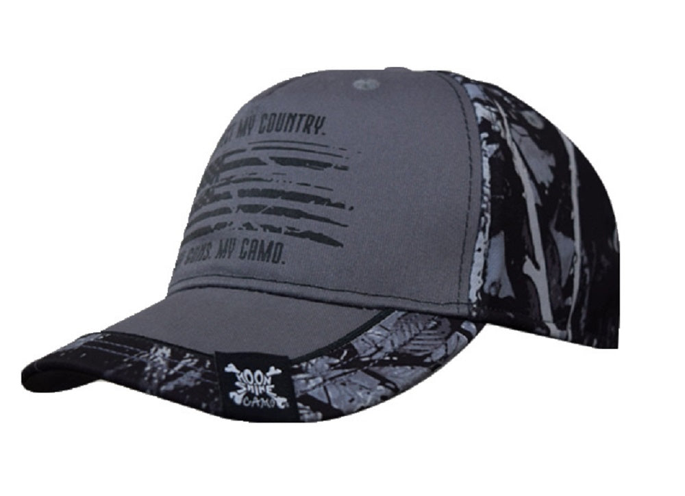 Harvest Moon Camo Respect My Country Flag Pro-Flex Fit Western Hat Cap Black Gray