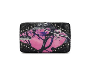 Muddy Girl Purple Pink Camo Womens Ladies Western Flat Wallet Black