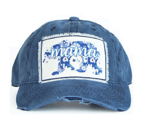 Southern Junkie Adjustable Mama Bear Flower Vintage Distressed Hat Cap Navy Blue