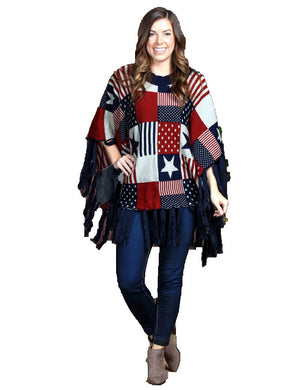 Grace & Emma USA American Texas Star Flag Fringe Poncho Shawl Cover Top Red Blue