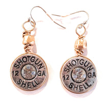 Faux 12 GA Gauge Bling Shotgun Shell Bullet Earrings Silver Gold Patina Turquoise Blue