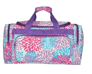 Ever Moda Pom Pom Flower Cheer Dance Luggage Duffel Bag Tote Purple Pink Blue 20""