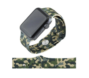 Army Camo Silicone Replacement Wrist Band For 38MM or 42MM Watch M/L