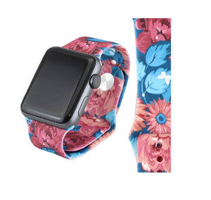 Flower Floral Silicone Replacement Wrist Band For 38MM or 42MM Watch M/L