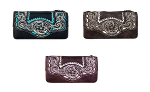 Montana West Flower Embroidery Secretary Bifold Zipper Wallet Black Turquoise Blue Brown Burgundy