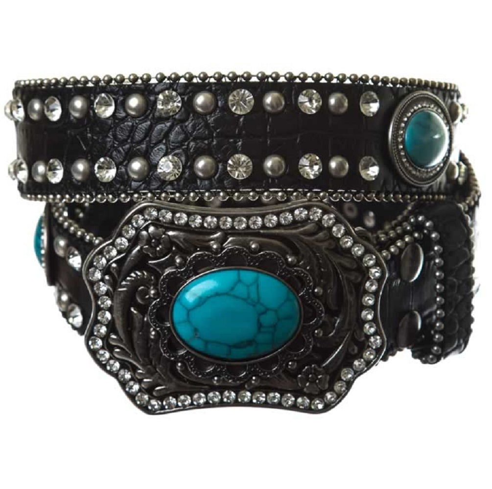 AGP Genuine Leather Bling Rhinestone Turquoise Concho Removable Buckle Belt Black