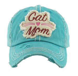 KB Cat Mom Heart Whiskers Adjustable Vintage Cap Hat Turquoise Blue Pink Beige Off White Black