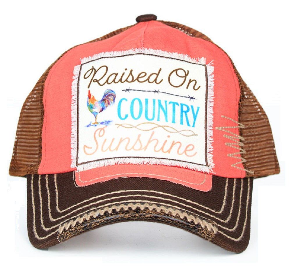 Adjustable Raised On Country Sunshine Rooster Chicken Vented Mesh Hat Cap Pink Brown