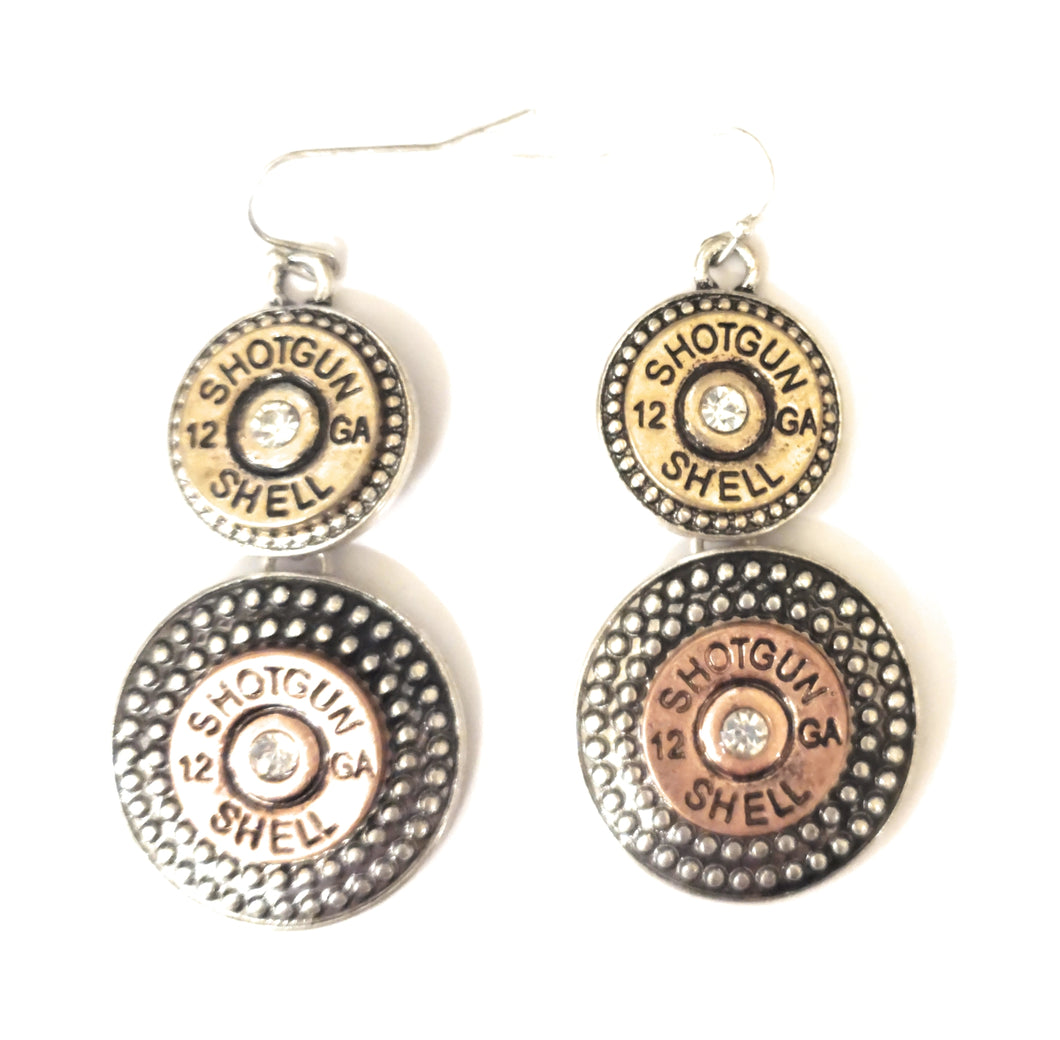 12 GA Gauge Shotgun Shell Bullet Bling Rhinestone Earrings Drop Dangle 2.5