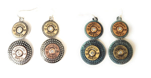 "12 GA Gauge Shotgun Shell Bullet Bling Rhinestone Earrings Drop Dangle 2.5"" Turquoise Blue Silver"