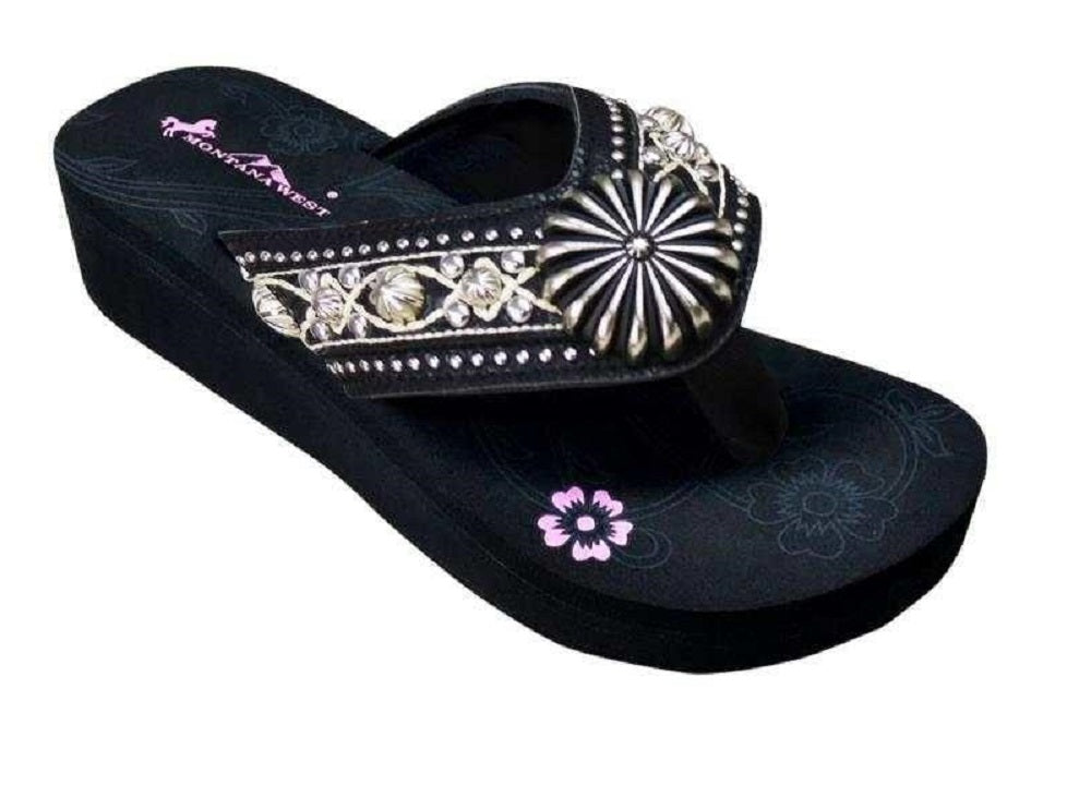 Montana West Floral Daisy Concho Aztec Western Flip Flop Sandals Shoes Black