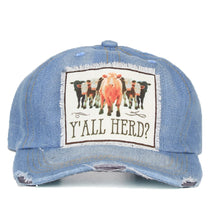 Southern Junkie Adjustable Yall Herd Cow Patch Vintage Distressed Hat Cap Denim Blue