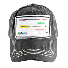 Sunshine&Rodeos Adjustable Aztec Feather Arrow Patch Vintage Distressed Womens Hat Cap Black Gray