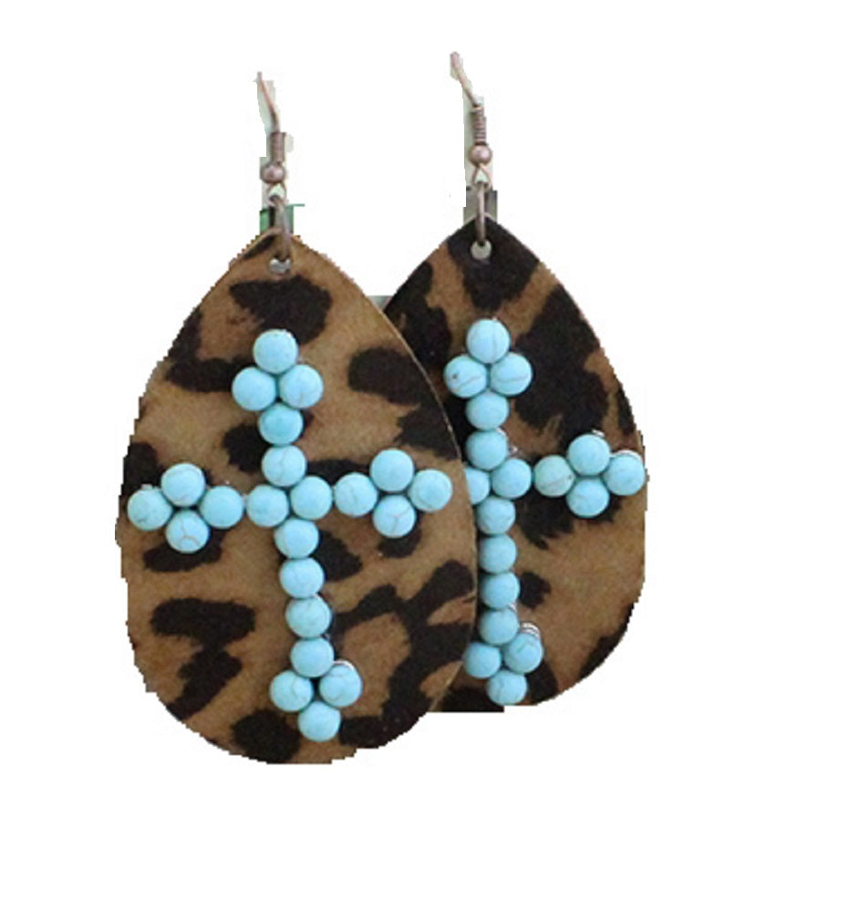 Lightweight Turquoise Blue Cross Leopard Earrings Cheetah Teardrop Jewelry 2.5