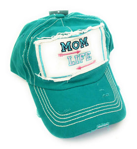 Sunshine&Rodeos Vintage Distressed Mom Life Aztec Arrow Hat Cap Black Gray Turquoise Blue Pink