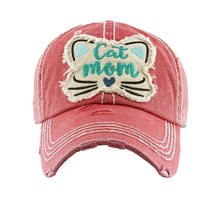 KB Cat Mom Hat Whiskers Heart Paw Print Adjustable Womens Vintage Distressed Cap