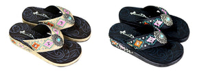 Montana West Aztec Filigree Turquoise Concho Flip Flops Sandals Black Beige Tan