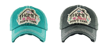 KB Home Hair Dont Care Hat Vintage Unconstructed Distressed Cap Embroidered