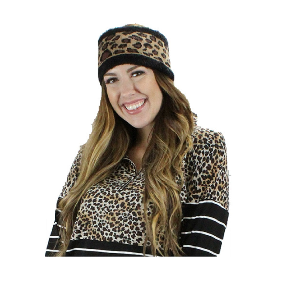 Leopard Cheetah Headband Ear Warmer Winter Fall Checkered Womens Accessory Brown Black
