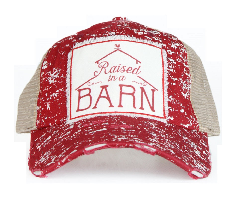 Southern Junkie Raised In A Barn Spatter Trucker Vented Mesh Hat Cap Maroon Red Tan Beige
