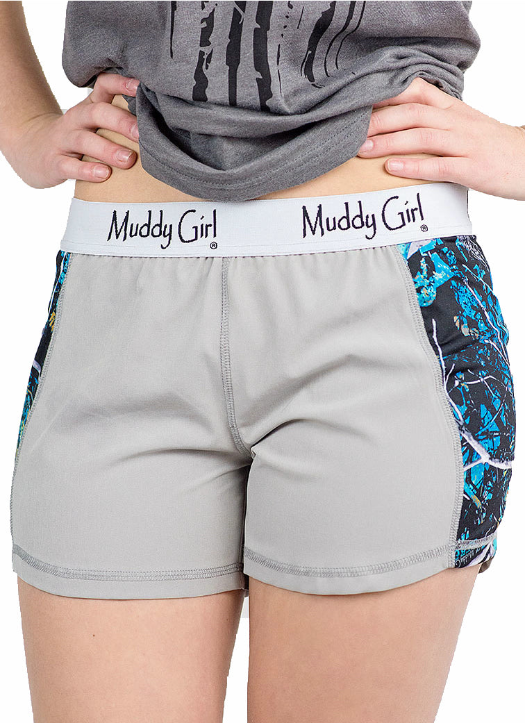 Muddy Girl Serenity Camo Athletic Gym Work Out Womens Shorts Turquoise Blue Gray
