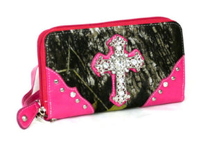 Camo Bling Rhinestone Cross Spiritual Womens Western Zipper Wristlet Wallet Blue Pink Purple Orange