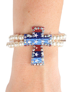 Patriotic USA Cross Bracelet American Stars Bling Stretch Jewelry Red White Blue