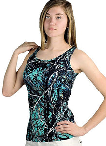 Muddy Girl Serenity Camo Womens Girls Sleeveless Tank Top Shirt Turquoise Blue Black