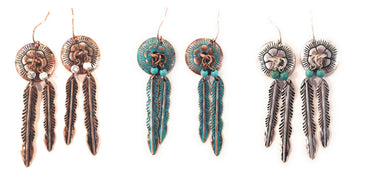 Daisy Flower Feather Aztec Hook Earrings Patina Turquoise Silver Copper Gold 2.5