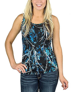 Undertow Moonshine Camo Camouflage Womens Girls Sleeveless Tank Top Shirt Blue Black