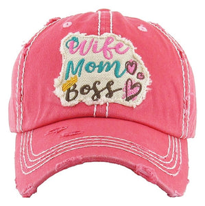 KB Adjustable Wife Mom Boss Heart Crown Hat Cap Black Pink Turquoise Blue Beige Khaki Off White