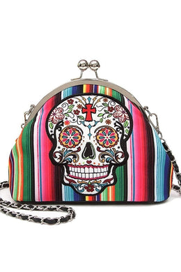 Sugar Skull Cross Flower Kiss Latch Messenger Bag Purse Charm Serape Aztec Black