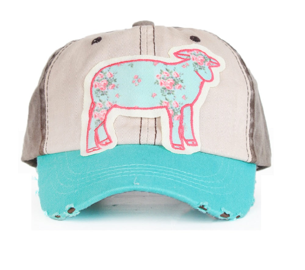 Southern Junkie Flower Sheep Lamb Farm Ag Hat Cap Turquoise Blue Black Beige Pink
