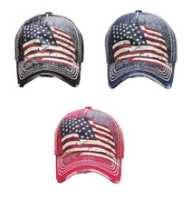 USA Patriotic American Flag July 4th Vintage Distressed Hat Cap Red Blue Black