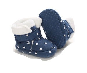 Infant Baby Girl Star Winter Booties Soft Sole First Walkers Shoes Blue White