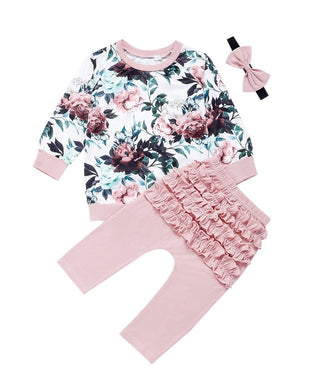 Infant Baby Girl Flower Long Sleeve Shirt Top Ruffle Pants Headband Set Pink