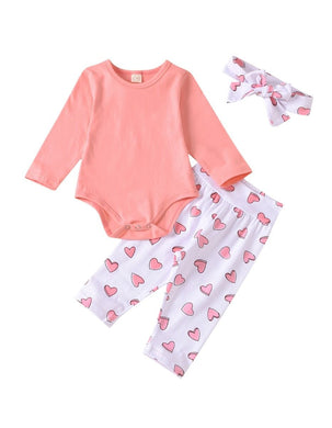 Infant Baby Girl Long Sleeve Bodysuit Love Heart Pants Headband Set Pink