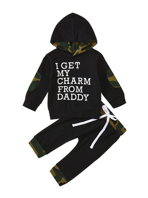 KSK Baby Boy Camo Hoodie Jacket Pants I Get My Charm From My Daddy Set Black