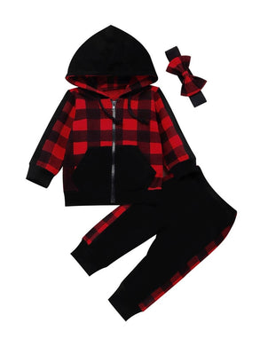 Toddler Baby Girl Buffalo Plaid Zipper Hoodie Jacket Coat Pants Headband Black Red