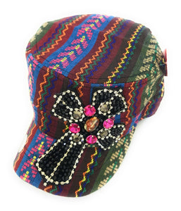 Tapestry Aztec Chevron Black Pink Beaded Rhinestone Cross Hat Cap Orange Green Blue