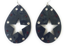 Cut Out Deer Lone Star Rhinestone Western Cowgirl Hook Earrings Silver Copper Red Navy Blue 2.25""