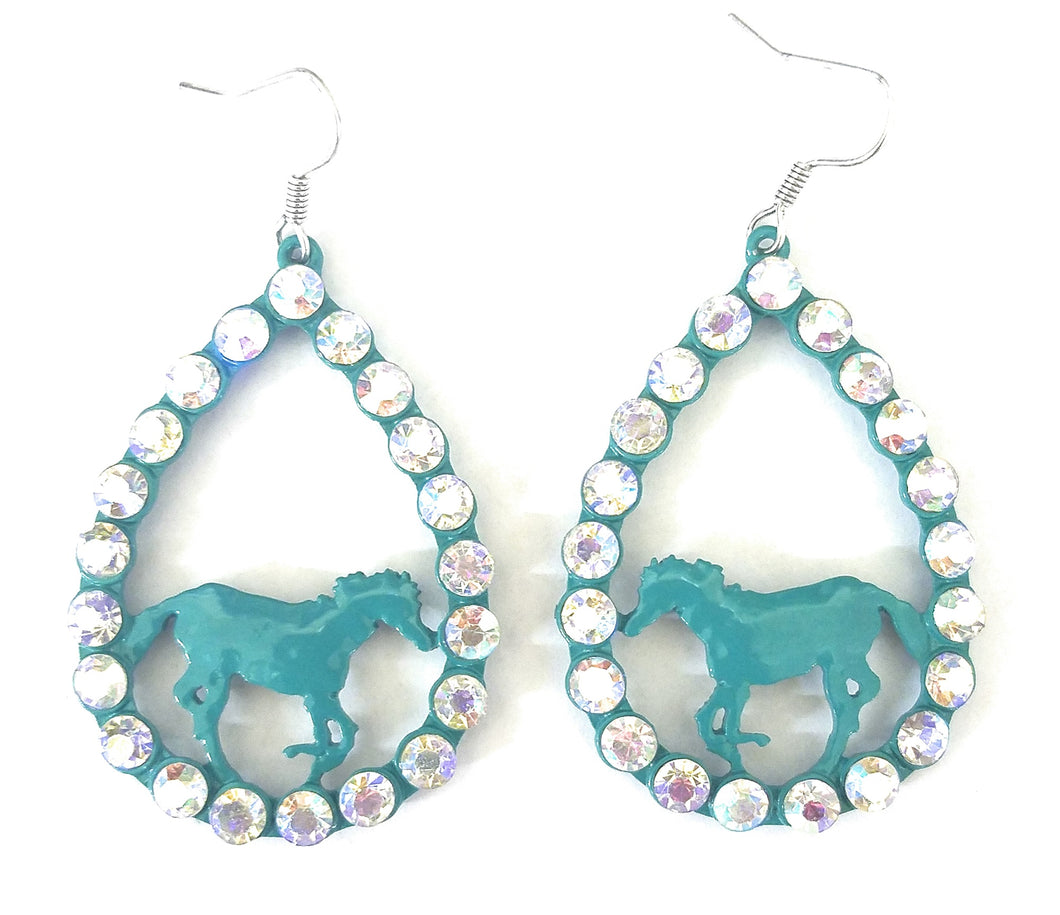 AB Bling Rhinestone Horse Western Cowgirl Jewelry Hook Earrings Turquoise Blue